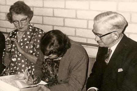 School Caretakers 1961 Mrs Lewis, Winnie Johnson, Mr Lewis